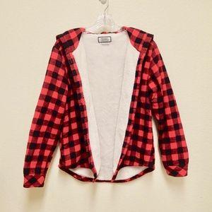 Plaid Red Flannel Faux Fur Jacket
